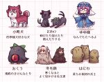 6+girls :3 animal_ears animalization blue_headwear blue_kimono bow breasts brown_fur cat_ears cat_tail chen chen_(cat) commentary_request dog_ears dog_tail earrings floating green_bow green_headwear hair_bobbles hair_ornament haniwa_(statue) hat holding holding_knife imaizumi_kagerou inubashiri_momiji japanese_clothes jewelry kaenbyou_rin kaenbyou_rin_(cat) kimono knife large_breasts long_sleeves mob_cap multiple_girls multiple_tails nekomata onozuka_komachi pink_eyes pink_hair pom_pom_(clothes) red_eyes red_fur red_ribbon reiuji_utsuho reiuji_utsuho_(bird) ribbon saigyouji_yuyuko short_hair single_earring solid_circle_eyes solid_oval_eyes stretch tail third_eye tokin_hat tongue tongue_out touhou translation_request triangle_mouth triangular_headpiece two_tails unime_seaflower veil white_fur wolf_ears