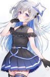 1girl absurdres amane_kanata angel angel_wings bare_shoulders belt black_dress black_gloves blue_belt blue_dress blue_hair blue_legwear blush colored_inner_hair commentary dress feathered_wings gloves gradient_dress hair_ornament hairclip halo highres hololive jewelry long_hair looking_at_viewer mini_wings multicolored_hair necklace parted_lips partially_fingerless_gloves pleated_dress shano_hiyori short_dress silver_hair single_hair_intake single_thighhigh sleeveless sleeveless_dress solo star_(symbol) star_halo star_necklace surprised thigh-highs thigh_pouch two_side_up violet_eyes virtual_youtuber white_wings wings