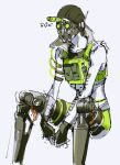 1boy apex_legends arms_between_legs black_gloves black_headwear cable cropped_vest fingerless_gloves gloves goggles green_shorts green_vest grey_background highres male_focus mask mechanical_legs mouth_mask octane_(apex_legends) shorts sitting sketch solo syringe_in_head thundergotch vest