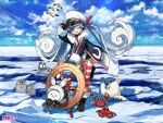 1girl 1other :3 animal arm_up bear binoculars bird black_gloves black_shirt black_shorts blue_eyes character_name clouds cloudy_sky coat commentary crab crypton_future_media day fur-trimmed_coat fur-trimmed_hood fur-trimmed_sleeves fur_trim gloves hair_ribbon hat hatsune_miku heart heart_in_eye holding holding_binoculars hood hood_up ice_floe jacket leaning_forward lens_flare light_blue_hair long_hair looking_at_viewer multicolored_hair necktie ocean official_art one_eye_closed open_mouth outdoors penguin polar_bear rabbit rabbit_yukine red_legwear red_neckwear red_ribbon redhead ribbon sailor_hat seagull seal_(animal) ship's_wheel shirt shorts sky smile snowflake_print snowflakes standing striped striped_legwear symbol_in_eye thigh-highs twintails v very_long_hair vocaloid wada_arco wavy_hair white_hair white_headwear white_jacket white_legwear winter yuki_miku