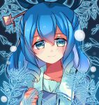 1girl bangs blue_background blue_dress blue_eyes blue_hair blue_sleeves blush closed_mouth collar collared_vest dress eyebrows_visible_through_hair gradient gradient_background hair_between_eyes hair_ornament hand_up highres kaku_seiga leaf looking_at_viewer meimei_(meimei89008309) open_clothes open_vest puffy_short_sleeves puffy_sleeves short_hair short_sleeves smile solo touhou upper_body vest white_vest