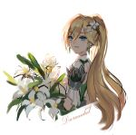 1girl :d bamboo_nima bangs bianka_durandal_ataegina bianka_durandal_ataegina_(bright_knight:_excelsis) blonde_hair blue_eyes bouquet character_name earrings flower hair_between_eyes hair_flower hair_ornament highres holding holding_bouquet honkai_(series) honkai_impact_3rd jewelry long_hair looking_at_viewer open_mouth ponytail simple_background smile solo white_background white_flower