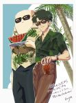2boys artist_name black_hair black_pants brown_pants collared_shirt cowboy_shot cup eurya8 food fruit green_shirt hawaiian_shirt holding holding_cup holding_plate kali_(the_legend_of_luoxiaohei) leaf male_focus multiple_boys outline pants plant plate print_shirt shirt shirt_tucked_in short_hair short_sleeves smile sunglasses the_legend_of_luo_xiaohei tree tubei_(the_legend_of_luoxiaohei) undercut watermelon watermelon_slice white_outline