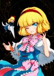 ;d alice_margatroid bangs blonde_hair blue_dress blue_eyes bow bowtie capelet cowboy_shot dark_background dress eyebrows_visible_through_hair frills hairband looking_at_viewer medium_hair one_eye_closed open_mouth pink_neckwear qqqrinkappp red_hairband shanghai_doll short_sleeves smile string touhou traditional_media white_capelet