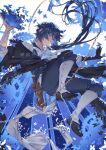 1boy blue_eyes blue_hair blue_theme book bow bug butterfly chain falling gears long_hair lux_casari signature solo vanitas_(vanitas_no_carte) vanitas_no_carte