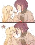 2girls bang_dream! blonde_hair blush commentary_request dated_commentary earrings eyebrows_visible_through_hair flying_sweatdrops food highres jewelry looking_at_another multiple_girls musical_note pocky pocky_kiss purple_hair seri_(vyrlw) seta_kaoru shirasagi_chisato sweatdrop thought_bubble yuri