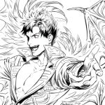1boy anderain arms_at_sides bat_wings belial_(granblue_fantasy) black_hair demon_boy demon_wings evil_smile fang feather_boa foreshortening granblue_fantasy greyscale male_focus monochrome pectoral_cleavage pectorals red_eyes short_hair smile solo spot_color toned toned_male wings