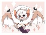 1girl :d animal_ears bangs black_legwear blush brown_background brown_dress chibi commentary_request dress eyebrows_visible_through_hair fang full_body fur-trimmed_dress fur_trim grey_eyes hair_between_eyes halftone halftone_background highres knee_up looking_at_viewer milkpanda monster_hunter:_world monster_hunter_(series) paolumu personification short_eyebrows smile socks solo sparkle tail thick_eyebrows white_hair white_wings wings
