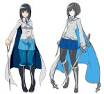 1girl absurdres black_footwear black_hair black_legwear blue_cape blue_eyes blue_legwear blue_skirt blush bob_cut boots cape closed_mouth doko_tetora grey_cape grey_jacket highres holding holding_sword holding_weapon inverted_bob jacket long_sleeves looking_at_viewer miniskirt multiple_views original pantyhose parted_lips pigeon-toed pleated_skirt rei_(doko_tetora) simple_background skirt sword two-sided_cape two-sided_fabric weapon white_background