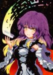 1girl :d bangs blonde_hair blush breasts dark_background dress eyebrows_visible_through_hair frilled_sleeves frills gradient_hair hijiri_byakuren juliet_sleeves layered_clothing long_hair long_sleeves looking_at_viewer medium_breasts multicolored_hair open_mouth puffy_sleeves purple_hair qqqrinkappp scroll smile solo sorcerer's_sutra_scroll touhou traditional_media upper_body white_dress wide_sleeves yellow_eyes