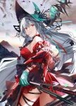 aqua_gloves aqua_headwear arknights ascot bangs bare_shoulders detached_sleeves dress gloves kyou_zip long_hair parted_lips red_dress red_eyes short_dress silver_hair skadi_(arknights) skadi_the_corrupting_heart_(arknights) sleeveless sleeveless_dress staff thigh_strap
