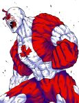 1boy :o bald bleeding blood canadianman clenched_hand colored_skin ga.b highres kinnikuman male_focus muscular redhead shouting simple_background solo standing thick_eyebrows veins white_background white_skin