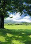 blue_sky branch bush clouds foliage grass highres mountain mountainous_horizon nature no_humans original scenery shade shadow shiromoca sky tree tree_shade