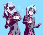 2boys aqua_eyes aqua_hair black_jacket blue_background business_suit clenched_hand collared_shirt formal hair_over_one_eye jacket long_sleeves multiple_boys necktie open_mouth pegasus_j_crawford pink_neckwear red_neckwear shirt silver_hair simple_background star_(symbol) suit tenma_yako tsuukounin_a upper_body white_shirt yu-gi-oh! yu-gi-oh!_r