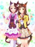 2girls animal_ears black_gloves bow braid brown_hair buena_vista_(umamusume) chain collarbone collared_shirt cowlick cropped_jacket eyebrows_visible_through_hair french_braid frilled_skirt frills gloves gold_chain highres horse_ears horse_girl horse_tail jacket light_brown_hair long_hair looking_at_viewer multicolored_hair multiple_girls neck_ribbon puffy_short_sleeves puffy_sleeves purple_bow purple_ribbon red_bow ribbon shirt short_hair short_sleeves single_glove skirt special_week_(umamusume) striped striped_bow sugimotty_nova tail thigh-highs trait_connection two-tone_hair umamusume v violet_eyes white_shirt wristband yellow_bow yellow_eyes yellow_jacket
