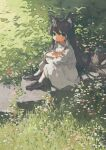 1girl animal_ears cat_ears cat_girl cat_tail child crossed_arms day dress flower grass highres long_hair original potg_(piotegu) shadow shoes sitting solo tail white_dress