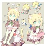 1girl 87banana ahoge animal_ears artoria_pendragon_(fate) blonde_hair blush bow bowtie breasts cat cat_ears cat_girl cat_tail closed_eyes commentary_request crown eating eyebrows_visible_through_hair fate/stay_night fate_(series) fish green_eyes hair_between_eyes hair_bun heart holding holding_tray looking_at_viewer mini_crown multiple_views saber short_sleeves sleeping small_breasts tail tray waitress