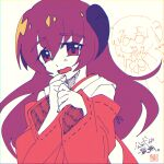 1girl :3 chromatic_aberration commentary detached_sleeves eyebrows_visible_through_hair flat_color hair_between_eyes hands_up hanyuu hatching_(texture) highres higurashi_no_naku_koro_ni hip_vent horns limited_palette linear_hatching long_hair looking_at_viewer momotarekawa nontraditional_miko open_mouth purple_hair red_sleeves ribbon-trimmed_sleeves ribbon_trim signature simple_background sketch solo_focus translation_request upper_body very_long_hair violet_eyes wavy_mouth white_background wide_sleeves
