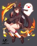 1girl :d =_= absurdres black_footwear black_headwear black_nails black_shorts brown_eyes brown_hair brown_jacket closed_eyes commentary_request fang fire flower full_body genshin_impact ghost grey_background grin hand_on_own_knee hat hat_flower highres hu_tao_(genshin_impact) jacket loafers long_hair looking_at_viewer nail_polish one_eye_closed red_flower shimmer shoes short_shorts shorts smile socks solo twintails very_long_hair white_legwear