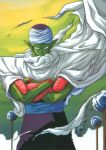 1boy absurdres billowing_cape cape colored_skin cowboy_shot day dragon_ball dragon_ball_z feet_out_of_frame green_skin highres looking_at_viewer namekian official_art outdoors piccolo pointy_ears scan serious solo torn_clothes turban