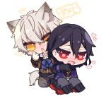 2boys animal_ear_fluff animal_ears bangs belt belt_buckle black_footwear black_gloves black_hair blue_bow blush boots bow brown_belt brown_jacket brown_vest buckle cross-laced_footwear ear_piercing ensemble_stars! eyebrows_visible_through_hair fang gloves grey_hair grey_pants hair_between_eyes heart heart-shaped_pupils highres jacket lace-up_boots long_sleeves looking_at_viewer male_focus multiple_boys nose_blush oogami_koga open_clothes open_jacket open_mouth orange_eyes pants piercing poppy_(poppykakaka) purple_jacket red_eyes sakuma_rei_(ensemble_stars!) shirt simple_background symbol-shaped_pupils tail translation_request vest wavy_mouth white_background white_shirt