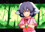 1girl :d animal_ears bamboo bamboo_forest black_hair blush_stickers carrot_necklace crossed_arms dress eyebrows_visible_through_hair forest green_background inaba_tewi looking_at_viewer multicolored multicolored_eyes nature neck_ribbon open_mouth orange_eyes outdoors pink_dress puffy_short_sleeves puffy_sleeves qqqrinkappp rabbit_ears red_neckwear red_ribbon ribbon short_hair short_sleeves smile solo touhou traditional_media upper_body v-shaped_eyebrows