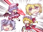 2girls ascot bat_wings crystal emphasis_lines fang fighting flandre_scarlet frilled_shirt_collar frilled_skirt frills hat hat_ribbon laevatein_(touhou) light_purple_hair mob_cap multicolored multicolored_wings multiple_girls open_mouth puffy_short_sleeves puffy_sleeves red_neckwear red_ribbon red_skirt red_vest remilia_scarlet ribbon shirt shoes short_hair short_sleeves siblings side_ponytail sidelocks simple_background sisters skin_fang skirt slit_pupils smug socks spear_the_gungnir touhou unime_seaflower v-shaped_eyebrows vest white_background white_legwear white_shirt wings wrist_cuffs yellow_neckwear
