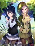 2girls african_rock_python_(kemono_friends) antenna_hair arm_at_side arm_up bangs black_hair blonde_hair blue_eyes blue_hair blush boots closed_mouth company_name crested_porcupine_(kemono_friends) day drawstring extra_ears furrowed_brow gloves glowing glowing_clothes hand_up hands_up hood hood_up hooded_jacket jacket kemono_friends kemono_friends_3 long_hair long_sleeves medium_hair miniskirt miwano_ragu multicolored_hair multiple_girls nervous official_art open_mouth outdoors pantyhose parted_bangs pleated_skirt porcupine_ears print_jacket purple_hair shiny shiny_hair shirt sidelocks skirt slit_pupils smile snake_print snake_tail spikes tail teasing thigh-highs thigh_boots two-tone_hair violet_eyes watermark wavy_mouth
