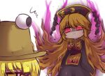 2girls angry aura bangs black_sleeves blonde_hair breasts chinese_clothes commentary_request eyebrows_visible_through_hair fox_print fox_tail glowing glowing_eyes hair_ribbon junko_(touhou) large_breasts long_hair long_sleeves looking_at_another moriya_suwako multiple_girls multiple_tails one-hour_drawing_challenge orange_hair phoenix_crown pyonta red_eyes red_ribbon ribbon simple_background standing sweat sweatdrop sweating_profusely tabard tail tassel touhou tress_ribbon unime_seaflower white_background wide_sleeves yellow_eyes yellow_neckwear yellow_ribbon