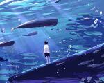 1boy black_hair black_shorts blue_theme bubble fish highres ocean original scenery shirt short_hair shorts signature solo standing sunlight t-shirt taizo4282 underwater whale white_shirt