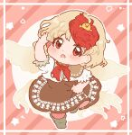 1girl animal_on_head ascot bird bird_on_head bird_wings blonde_hair blush boots border brown_capelet brown_dress brown_footwear capelet chibi chick commentary diagonal_stripes dot_nose dress eyebrows_visible_through_hair full_body hand_up highres looking_at_viewer multicolored_hair niwatari_kutaka on_head open_mouth outline pink_background red_ascot red_eyes red_neckwear redhead sakurasaka shirt short_sleeves skirt_hold solo standing standing_on_one_leg star_(symbol) striped striped_background touhou two-tone_hair white_border white_shirt wings