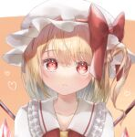 1girl bangs blonde_hair blush bow closed_mouth collarbone commentary_request crystal expressionless eyebrows_visible_through_hair face flandre_scarlet frilled_shirt_collar frills furawast hat hat_bow heart looking_at_viewer medium_hair mob_cap one_side_up orange_background red_bow red_eyes red_vest simple_background solo touhou upper_body vest white_headwear wings yellow_neckwear