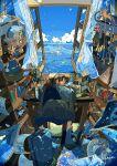 1girl absurdres blue_sky clouds desk highres indoors nara_lalana ocean original room scenery sky window