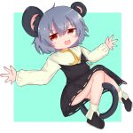 1girl animal_ears bangs black_footwear blue_background capelet commentary cookie_(touhou) crystal eyebrows_visible_through_hair full_body grey_hair grey_skirt grey_vest hair_between_eyes highres jewelry long_sleeves looking_at_viewer mouse_ears mouse_girl mouse_tail nazrin nyon_(cookie) open_mouth pendant red_eyes shirt shoes short_hair simple_background skirt skirt_set smile socks solo stl_(dpb_v) tail touhou two-tone_background vest white_background white_capelet white_legwear white_shirt