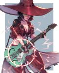 blonde_hair electric_guitar fingerless_gloves gloves guilty_gear guilty_gear_strive guitar hat i-no instrument jacket looking_at_viewer midriff rattlepool red_headwear red_jacket short_hair sunglasses venus_symbol witch_hat