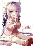 1girl absurdres bangs beads black_hairband blue_eyes blunt_bangs blush capelet dragon_girl dragon_horns dress eyebrows_visible_through_hair food frilled_capelet frills gradient_hair hair_beads hair_ornament hairband highres horns ice_cream ice_cream_cone kanna_kamui kobayashi-san_chi_no_maidragon light_purple_hair long_hair looking_at_viewer low_twintails multicolored_hair on_floor open_mouth pink_hair red_footwear sitting solo tail thigh-highs twintails white_legwear zipgaemi