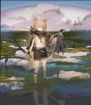 1girl animal animal_ears arknights bangs bird black_gloves black_shorts bow_(weapon) closed_mouth clouds commentary_request duck expressionless fingerless_gloves fox_ears fox_girl full_body gloves hair_ornament hairclip highres holding holding_animal holding_bow_(weapon) holding_weapon hunting leg_wrap light_brown_hair looking_at_viewer notched_ear on_(_l0_) orange_eyes prosthesis prosthetic_arm shirt short_hair shorts sleeveless sleeveless_shirt solo tail vermeil_(arknights) water weapon wetland white_shirt
