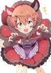 1girl :d alternate_costume animal_ears apron bodice capelet claw_pose eyebrows_visible_through_hair facial_mark frilled_apron frills hair_ornament hairclip highres hood hoshizora_rin little_red_riding_hood looking_at_viewer love_live! love_live!_school_idol_project orange_hair red_capelet sen_(sen0910) short_hair smile solo tail v-shaped_eyebrows waist_apron white_apron wolf_ears wolf_tail x_hair_ornament yellow_eyes