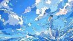 1girl blue_sky bubble clouds dress highres nara_lalana ocean original scenery short_hair sky water waves