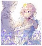 1boy 1girl :o alternate_costume bangs blue_dress blush breasts closed_mouth collarbone commentary crown dress epaulettes eye_contact eyebrows_visible_through_hair fate/grand_order fate_(series) flower formal fujimaru_ritsuka_(male) hair_between_eyes height_difference light_purple_hair looking_at_another mash_kyrielight medium_breasts mini_crown partially_colored puffy_short_sleeves puffy_sleeves purple_flower short_hair short_sleeves smile upper_body violet_eyes wani_(mezo) white_background wrist_cuffs