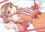 1girl bangs bed_sheet blush bow brown_dress brown_eyes brown_hair brown_sleeves center_frills commentary_request detached_sleeves dress eyebrows_visible_through_hair frilled_dress frilled_sleeves frills glasses idolmaster idolmaster_cinderella_girls ikebukuro_akiha long_sleeves looking_at_viewer miri_(ago550421) parted_lips red-framed_eyewear red_bow semi-rimless_eyewear sleeveless sleeveless_dress solo twintails under-rim_eyewear wide_sleeves