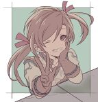 1boy brown_hair gloves granblue_fantasy lamorak_(granblue_fantasy) long_hair male_focus ncn828 one_eye_closed red_eyes ribbon smile solo twintails younger