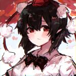 1girl bangs black_hair black_neckwear blush bow bowtie closed_mouth highres kuahri looking_at_viewer medium_hair pointy_ears pom_pom_(clothes) red_background red_eyes red_headwear shameimaru_aya shirt solo touhou upper_body white_background white_shirt