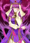 1girl 74 aura blush dark_aura dress eremiya evil_smile fire_emblem fire_emblem:_new_mystery_of_the_emblem grin hand_on_own_cheek hand_on_own_face highres jewelry long_dress long_hair long_sleeves purple_hair purple_headwear robe ruby_(gemstone) shaded_face simple_background smile solo turtleneck veil violet_eyes white_dress yandere