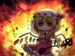 1girl arm_up ascot bangs blonde_hair blush commentary_request crystal debris explosion flandre_scarlet frilled_shirt_collar frilled_skirt frills hat holding holding_weapon laevatein_(touhou) mob_cap one-hour_drawing_challenge red_eyes red_skirt red_vest rock shirt short_hair short_sleeves side_ponytail skirt solid_circle_eyes solo standing touhou triangle_mouth unime_seaflower upper_body vest weapon white_shirt wings yellow_neckwear