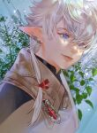 1girl alisaie_leveilleur bangs beige_jacket blue_eyes commentary_request earclip elezen elf final_fantasy final_fantasy_xiv hair_ribbon jya korean_commentary leaf looking_to_the_side medium_hair plant pointy_ears ponytail portrait ribbon silver_hair solo