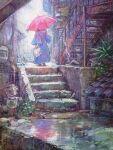 1girl bag dress junpei_(juntonanotukunanika) leaf original plant rain scenery stairs umbrella walking