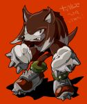1boy animal_nose aoki_(fumomo) clenched_hands fang full_body furry furry_male gloves knuckles_the_echidna male_focus red_background shoes simple_background snout solo sonic_(series) sonic_world_adventure spikes standing white_gloves