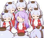 6+girls =_= animal_ears bow chibi clone commentary ear_bow gold_ship_(umamusume) gomashio_(goma_feet) green_bow headgear horse_ears horse_girl long_hair mejiro_mcqueen_(umamusume) multiple_girls no_mouth pillbox_hat purple_bow purple_hair red_track_suit shiny shiny_hair silver_hair track_suit turtleneck umamusume |_|