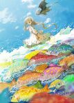 1girl blonde_hair blue_eyes blue_scales blue_sky braid braided_ponytail demizu_posuka dragon dress fish green_scales highres long_hair looking_at_animal orange_scales original purple_scales red_scales scenery sky star_(symbol) very_long_hair wading white_dress yellow_scales